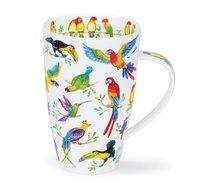 DUNOON-XL-mug-beker-Tasse-fbC-Henley-600ml-JUNGLE-JIVE-exotic-birds-grappige-Papagaai-Kakatoe-exotische-vogels-design-Cherry De