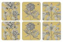 Onderzetters-Pimpernel-Etchings-Roses-set/6-goud-geel