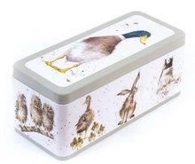 Wrendale-voorraad-koekjes-cracker-tin-trommel-WRENDALE-Bosdieren-Hare-Owl-Duck-Haas-Eend-Uil-design-Hannah_Dale-TN006-mintgroen