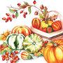 Ambiente-herfst-papieren-servetten-PUMPKINS & ROSEHIPS-pompoenen-kalebassen-rozenbottels-oranje-rood-geel-groen-