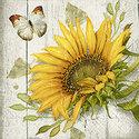Paper+Design-papieren-servetten-paper-napkins-VINTAGE SUNFLOWER-cocktail-25x25cm-zonnebloem