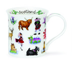DUNOON-beker-mok-mug-Scotland-galore-doedelzak-stag-piper-scottie-BUTE-shape-design-Cherry-Denman