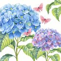 Paper+Design-cocktail-papieren-servetten-GENTLE_HYDRANGEA-blauw-paars-25x25cm-100610-bloem-plant-vlinder