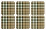 Onderzetters-Pimpernel-kunststof-kurk-set/6-tartan-green-schotse-ruit-beige-groen