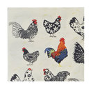 Ulster-Weavers-papieren-servetten-paper napkins-Small-ROOSTER-zwart-witte-kippen-haan-21x21cm-cocktail
