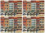 Pimpernel-placemats-set/4-BOAT-SCENE-havengezicht-zeilboten-pakhuizen-melamine-kurk-40x30cm