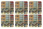 Pimpernel-onderzetters-p/6-BOAT-SCENE-melamine-kurk-havengezicht-10,5x10,5cm-zeilboten-pakhuizen
