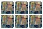 Pimpernel-onderzetters-kunststof-kurk-set/6-EVENING-PORT-Haven-bij-avond-10.5x10.5cm