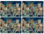 Pimpernel-placemats-set/4-EVENING-PORT-haven-bij-avond-boten-huizen-melamine-kurk-40x29,5cm