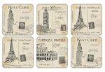 Pimpernel-onderzetters-kunststof-kurk-set/6-POSTCARD-SKETCHES-oude-ansichtkaarten-Londen-Parijs-New-York-10.5x10.5cm