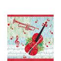 Ambiente-papieren-cocktail-servetten-MUSIC-TIME-rood-viool-trompet-bladmuziek-25x25cm