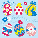 Papieren-servetten-Pasen-EASTER-EGGS-Collection-Blue-gekleurde-kippen-eieren-blauw