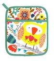 Ovenwant-pannenlap-TWIT TWOO-uilen-bloemen-vrolijk-geel-Ulster-Weavers