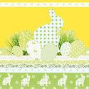 Papieren-servetten-Pasen-TOUCH OF EASTERN-geel-groen-paashaas-eieren-lunch-diner-33x33cm-Ambiente