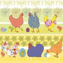 Papieren-servetten-voorjaar-Pasen-MODERN-CHICKENS-gekleurde-kippen-kuikens-eieren