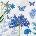 Papieren-servetten-Ambiente-BLUE-MOON-blauwe-bloemen-Agapanthus-cocktail-25x25cm