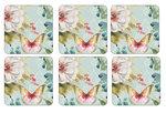 Pimpernel-onderzetters-kunststof-kurk-set/6-COLORFUL BREEZE-Tropische-bloemen-vlinders-butterflies-10.5x10.5cm