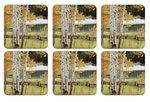 Pimpernel-onderzetters-coasters--kunststof-kurk-set/6-BIRCH BEAUTY-Berkenbomen-bos-bruine-bladeren-10.5x10.5cm