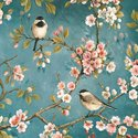 Papieren-servetten-Easy Life-NUOVA-R2S-BLOSSOM-bloesem-vogels-koolmeesjes-33x33cm