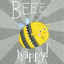 Paper+Design-papieren-servet-BEEE HAPPY-bijtje-grijs-zilver-33x33cm-lunch-diner