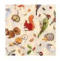 Ulster Weavers-papieren-servetten-WOODLAND-Bosdieren-vogels-planten-Specht-Uil-Eekhoorn-Egel-kastanjes-Paddenstoelen-lunch-dine