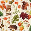Ambiente-herfst-papieren-servetten-AUTUMN CLASSIC-13311060-Bosdieren-eekhoorn-egel-uil-rozenbottels-paddenstoel-lampionplantje-