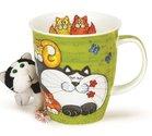 Dunoon-beker-mok-Nevis-CATS & KITTENS-GREEN-Katten & Kittens-groen-design-Jane Brookshaw