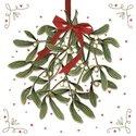 Papieren-servetten-Ambiente-p/20-Kerst-MISTLETOE-Kersttak-rode-strik-33x33cm-lunch-diner-33310575