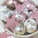 Papieren-servetten-Paper+Design-p/20-Kerst-PINK XMAS-Kerst-Winter-schaal-kerstballen-sterren-zilver-roze-33x33-lunch-diner-6001