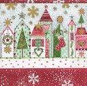 Papieren-servetten-Paper+Design-p/20-CHRISTMAS ROAD-Kerst-straat-huizen-LC0352