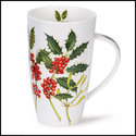 DUNOON-XL-mug-beker-Tasse-fbC-Henley-600ml-HOLLY & MISTLETOE-Kerst takken-Hulst-mistletoe-design-Richard Partis