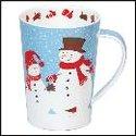 DUNOON-XL-mug-beker-Tasse-fbC-Argyll-500ml-SNOW FLURRY-SNOWMAN-Sneeuwpoppen-design-Kate Mawdsley