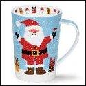 DUNOON-XL-mug-beker-Tasse-fbC-Argyll-500ml-SNOW FLURRY-SANTA-vrolijke-Kerstman-design-Kate Mawdsley