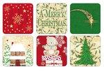 Onderzetters-coasters-Pimpernel-Xmas-CHRISTMAS-BLESSING-Kerstpakjes-set/6-rood-groen