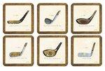 Pimpernel-onderzetters-kunststof-kurk-set/6-HISTORY OF GOLF-Golfclubs-golfstokken-10,5x10,5cm
