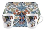 Portmeirion-2bekers-tray-set-strawberry-thief-White-bird-aardbeien-vogel-wit