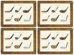 Pimpernel-hittebestendig-placemats-kunststof-kurk-set/4-HISTORY OF GOLF-Golfclubs-tekst-Century of Golfclubs-40x29.5cm
