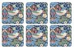 Morris & Co-Pimpernel-onderzetters-STRAWBERRY THIEF-BLUE-melamine-kurk-p/6-Aardbeien-vogels-blauw