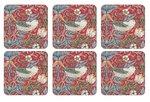 Morris & Co-Pimpernel-onderzetters-STRAWBERRY THIEF-RED-melamine-kurk-p/6-Aardbeien-vogels-rood