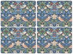 Morris & Co-Pimpernel-placemats-STRAWBERRY THIEF-BLUE-melamine-kurk-p/4-Aardbeien-vogels-blauw
