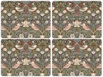 Morris & Co-Pimpernel-placemats-Large-STRAWBERRY THIEF-BROWN-melamine-kurk-p/4-Aardbeien-vogels-bruin