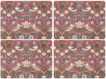 Morris & Co-Pimpernel-placemats-Large-STRAWBERRY THIEF-RED-melamine-kurk-p/4-Aardbeien-vogels-rood