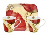 Portmeirion-2bekers-tray-set-poppy-de-Villeneuve-klaproos