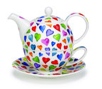 Dunoon-Tea_for_one-WARM HEARTS-fine bone China-gekleurde-harten-hartjes