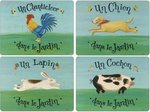 Pimpernel-placemat-set-Dans le Jardin-kip-haan-hond-konijn-varken