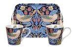 Portmeirion-2bekers-Mug & Tray-set-STRAWBERRY-THIEF-BLUE-bird-aardbeien-vogel-blauw