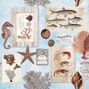 Ambiente-lunch-papieren-servetten-SEPIA-SEA-BLUE-schelpen-zeedieren-33x33cm