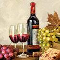 Ambiente-papieren-cocktail-servetten-WINE & GRAPES-wijn-druivenfles-glas-kurk-25x25cm