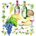 papieren-servetten-lunch-diner-WINE & CHEESE-wijn-kaas-druiven-ranken-Ambiente-33x33cm