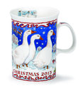 Dunoon-kerst-verzamel-beker-2013-CRISTMAS-MUG-Devon-witte-ganzen-280ml.-Sue Scullard-